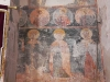 Close up of a wall fresco showing 3 archangels